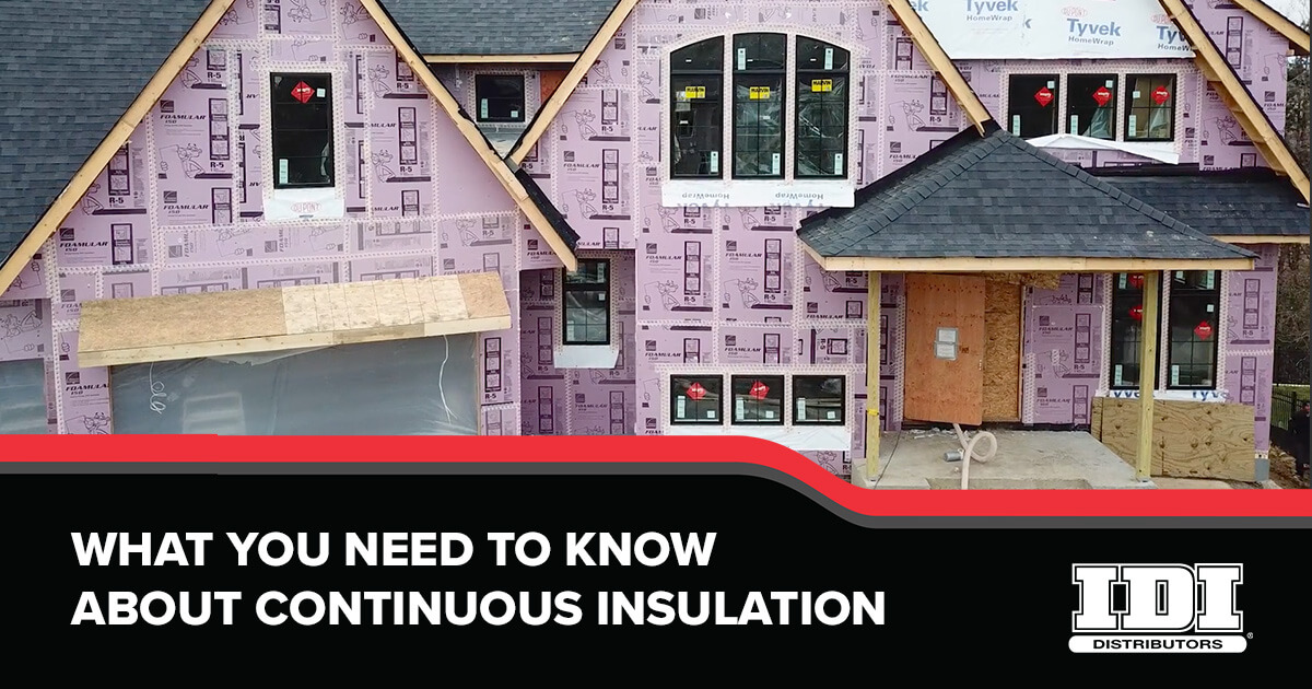 IDI continuous insulation poster showing a house with its exterior insulation exposed