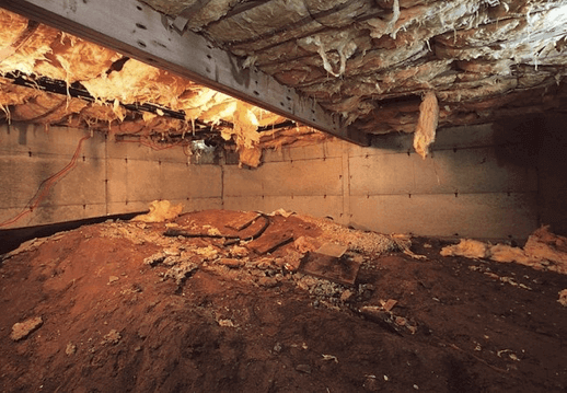 Old, dirty crawl space